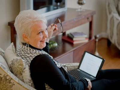 Resident with laptop